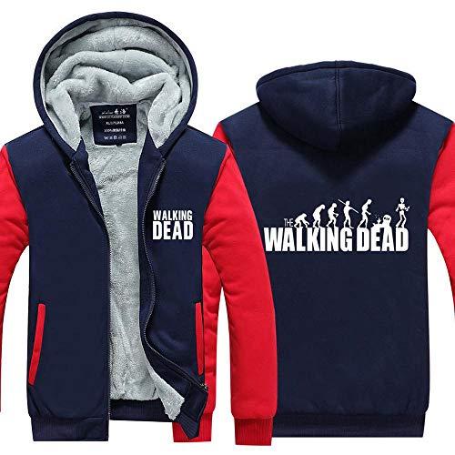 BINGFENG Männer Warm Halten Hoodie Walking Dead Zombie Druck Strickjacke Mit Kapuze Sweatshirt Halten Warm-Jacke Für Winter Home Outdoor-Pullover B-S