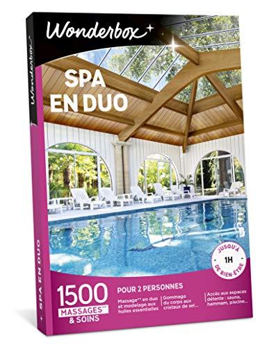 Wonderbox – Coffret cadeau - SPA EN DUO – 1500 soins bien-être, massages aux huiles essentielles, accès au spa, gommages aux cristaux de sel
