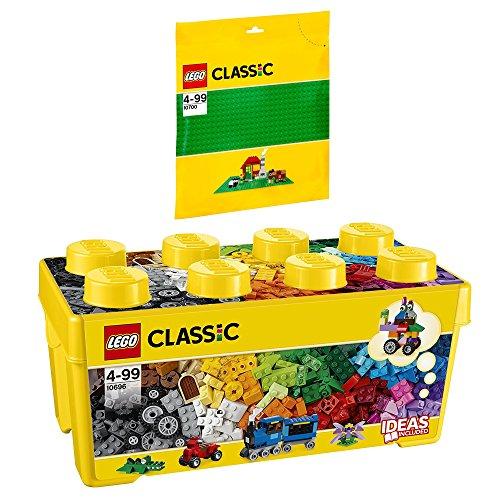 LEGO Classic 2 Piezas. Set 10696 10700 - Caja de Ladrillos (tamaño Mediano), Color Verde