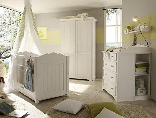 Massivholz Babyzimmer-Set Cinderella Premium bestehend aus 2-türigem Kleiderschrank, Babybett, Kommode und Wickelaufsatz, Kiefer, teilmassiv, weiß