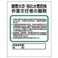 【356-06】作業主任者職務板 酸素欠乏・硫化水素危険