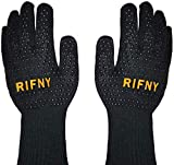 BBQ Gloves, Rifny Grill Gloves Protect to 1472°F Extreme Heat Resistant Fireproof Barbecue Oven Gloves with Non-slip Silicone Coating (Black)