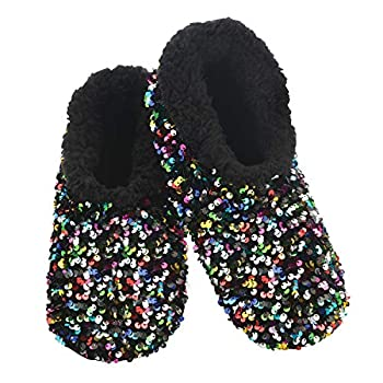 Snoozies Womens Slipper Socks - - Cozy Slippers for Women - Fuzzy House Slippers for Indoor Use - Soft Sole Slippers - Sequin Glam Bling - Multi - X-Large
