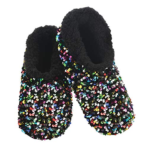 Snoozies Womens Slipper Socks - - Cozy Slippers for Women - Fuzzy House Slippers for Indoor Use - Soft Sole Slippers - Sequin Glam Bling - Multi - Small
