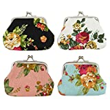 DODOGA 4pcs Women Girl Canvas Change Purse Change Pouch with Kiss lock Clasp Coin Purse Small Coin Wallet