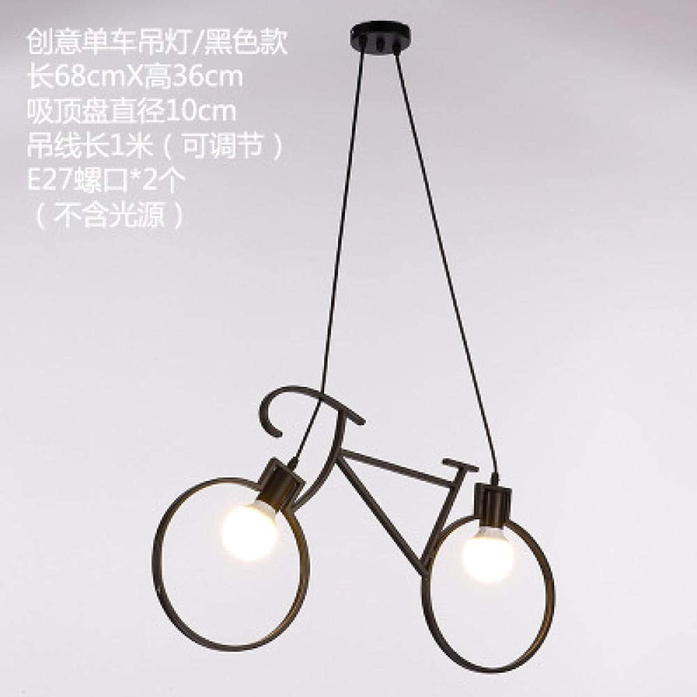 Moderne Schlafzimmerlampe moderner minimalistischer kreativer Retro Leuchter des Kinderzimmerschlafzimmerlampenfahrradrestaurant-Barcaféfahrrades@Schwarz_Mit LED warmem Licht