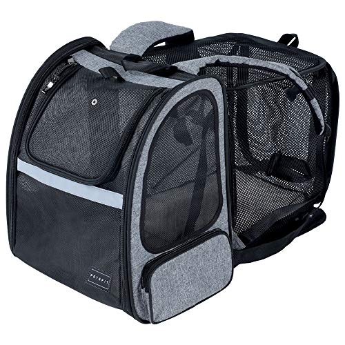 Petsfit Expandable Cat Carrier Backpack,Dog Carrier Backpack with Great Ventilation,Fleece Mat and Portable Pet Travel Backpack for Hiking,Camping Hold Pets Up to 15 lbs