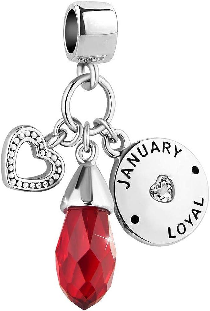 Riakoob January Heart Love Simulated Birthstone Birthday Charms for Bracelets