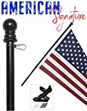 American Flag and Pole kit Set: Includes a 3x5 ft US Flag Made in USA, 6 ft Aluminum Tangle Free Spinning Flag Pole with carabiners, and flagpole Holder Wall Mount Bracket (Black)