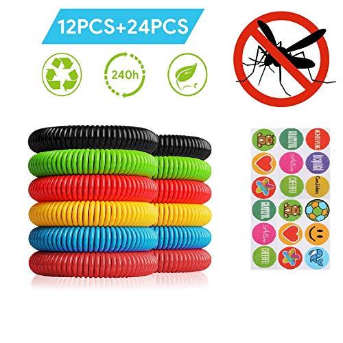 Telgoner Mückenschutz Armband, 100% Natürlich Anti Mücken Armband, Einschließen 12 Stück Armband Insektenschutz and 24 Stück Mückenschutz Sticker, Perfekt für Kinder Erwachsene Camping Wandern Reisen