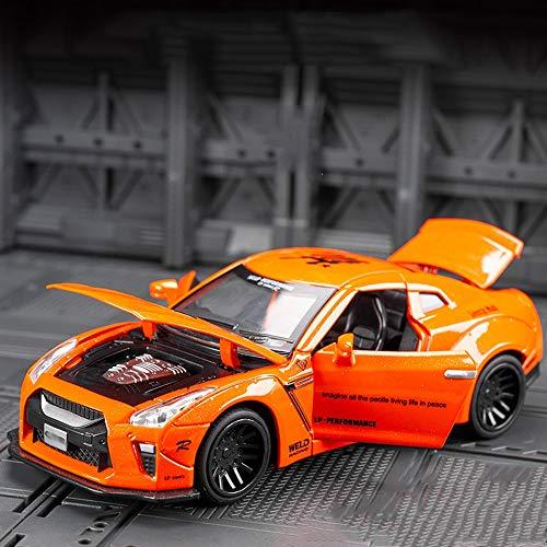 Xolye 1:32 Sportauto Spielzeug 6 Farben Legierung Sound und Licht Kinder Spielzeugauto Metall Spielzeug Auto Dekoration Urlaub Geschenk Simulation Spielzeugauto, das die Tür öffnen und nach vorne zieh
