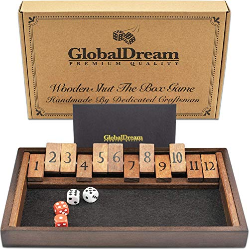 GlobalDream Shut The Box Game - 12 Numbers Wooden Dice Game for The Whole Family - 2 Players and Up - Shut The Box Game Wooden, Close The Box Game, Shut Box Dice Game