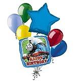 7 pc Thomas the Train Happy Birthday Balloon Bouquet Party Decoration PBS Tank
