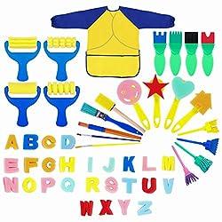 🎨️Painting Kits for Kids: questo set da 48 pezzi ti offre la combinazione perfetta di strumenti per pennelli da pittura. È bello per i bambini dipingere, disegnare, realizzare progetti artigianali fai-da-te e tenerli occupati. 🎨️Disegnare con la tua ...