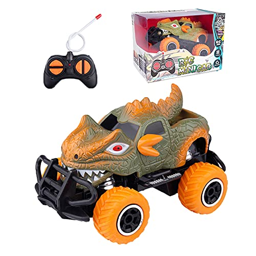SKABENLAM Remote Control Car for Boys 3-5 Year Old , Easy to Use Little RC Car for Girls Age 3 4 5 6 ,Off-Road Climbing Vehicle Toy Cars ,Toddler Boy Dinosaur Monster Truck, Funny Gift(Orange)