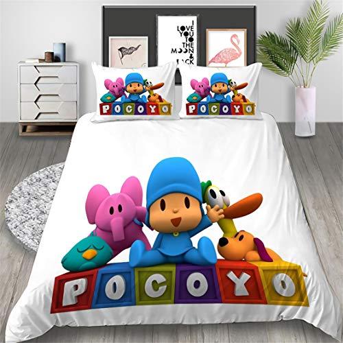WMZ-SC Pocoyo - Juego de cama infantil (fibra superfina, suave y cómoda, incluye funda de almohada de 50 x 75 cm / 80 x 80 cm (6,135 x 200 cm + 50 x 75 cm)