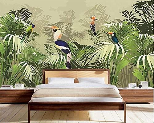 Home Renovation Furnishings 3D Wallpaper Mural Wall Sticker Retro Tropical Rainforest Parrot Palm Leaf Living Room Tv Background Wall Wallpaper Mural Wall Sticker for Walls 300cmX250cm