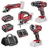 Ozito PXDDGK-500U 18v Cordless 4 Piece Power Tool Kit 1 x 2ah & 1 x4ah...