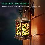 TomCare Solar Lights Metal Solar Lantern Flickering Flame Outdoor Hanging Lanterns Lighting Heavy Duty Waterproof Solar…
