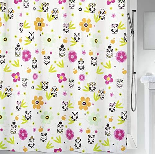 "Spirella Anti-Schimmel Duschvorhang - Anti-Bakteriell, waschbar, wasserdicht, Polyester, ""Panda"" 180x200cm Weiß"