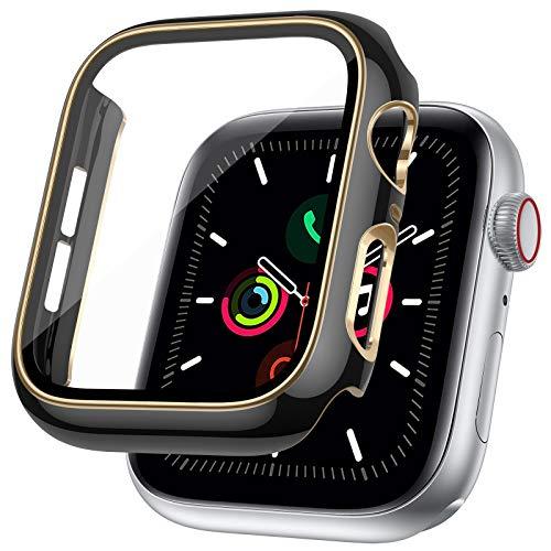 LORDSON Funda Compatible con Apple Watch Series SE / 6/5/4 44 mm, Estuche de Película Protectora de Vidrio Templado, Protector de Pantalla para PC de Dos Tonos - 99,99% HD, Resistente Rasguños