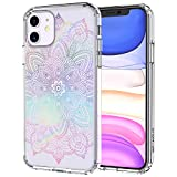 MOSNOVO Rainbow Henna Mandala Floral Pattern Designed for iPhone 11 Case,Clear Case with Design,TPU Bumper with Protective Hard Case Cover