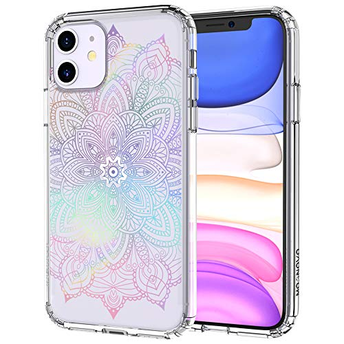 MOSNOVO iPhone 11 Case, Rainbow Henna Mandala Pattern Clear Design Transparent Plastic Hard Back Case with TPU Bumper Protective Case Cover for Apple iPhone 11 (2019)