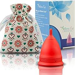 Athena Copa Menstrual – La copa menstrual más recomendada - Incluye una bolsa de regalo - Talla 1, Rojo liso - ¡Ausencia de pérdidas garantizada!