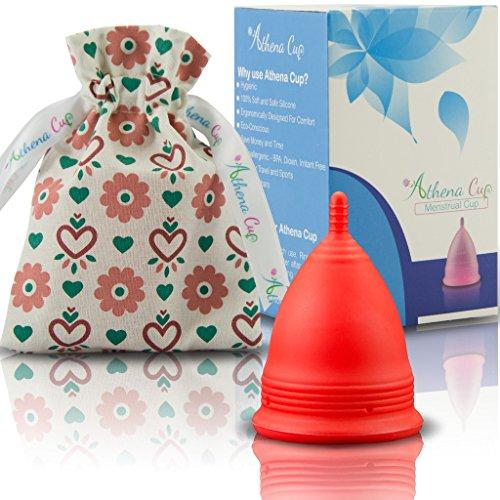 Coupe Menstruelle Athena - Garantie Sans Fuites Ou Démangeaisons - Silicone Très Douce Et à Peine Perceptible - Taille 2, Rouge Mat
