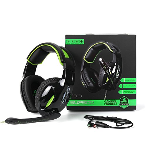 SUPSOO G813 Gaming Headset 3.5mm Wired Over-Ear with Mic Volume Control for PC/PS4/New Xbox one/Mac