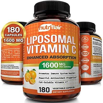NutriFlair Liposomal Vitamina C 1600 mg, 180 Cápsulas - Alta Absorción, Soluble en Grasa VIT C, Suplemento Antioxidante, Mayor Bioaccesibilidad Sistema Inmunológico Apoyo y Aumento de Colágeno, No OGM y Pastillas Veganas