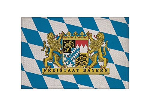 U24 Aufnäher Freistaat Bayern Fahne Flagge Aufbügler Patch 9 x 6 cm