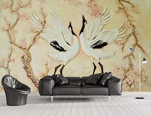 3D Tapete Relief Kranich Pflaumenblüte Retro Fototapete Vlies Wand Wandbilder Wohnzimmer Schlafzimmer Moderne Wanddeko