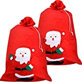 Saco de Papá Noel de Navidad Bolsa de San Nicolás Saco de Regalo Rojo Bolsa Grande de Presenta de Papá Noel para Decoración de Presenta de Vacacion de Navidad (2 Piezas)