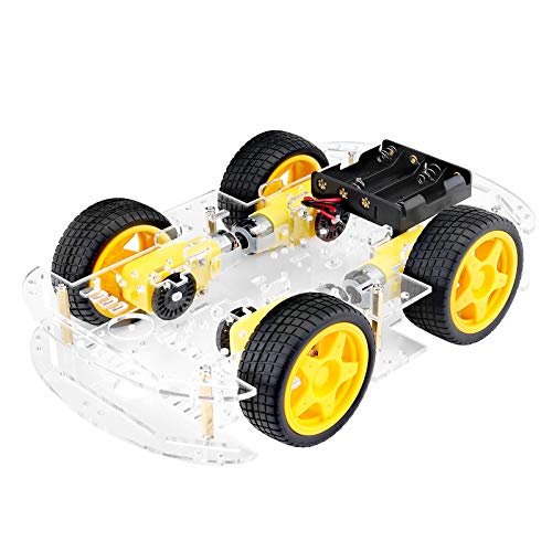 Hootracker Crazepony-UK 4-Wheel Robot Smart Car Chassis Kits Car Model DIY with Speed Encoder Wheels and Battery Box for Arduino