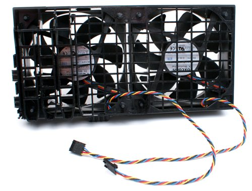 Genuine Dell DC 12V 4 Wire 5-pin Dual Cooling Fan Assembly for Precision WorkStation T3500 T5500 Systems Compatible Part Numbers: HW856