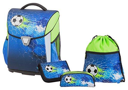 Schneiders Vienna 78316-070 Schulranzen Set Basic, Soccer Champ, 4 teilig, inklusive Federmappe, Sportbeutel und Schlampermappe, 40 cm, blau