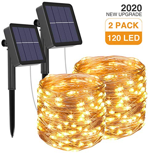 kolpop Solar String Lights 2Pack 39Ft 120LED Solar Powered Fairy Lights Outdoor 8 Modes Copper Wire Decoration Christmas Lights Waterproof for Garden Yard Camping Patio Trees Party Deco(Warm White)