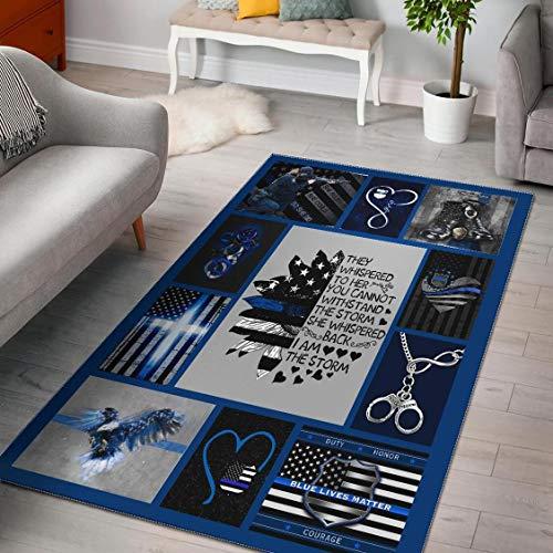Blue Lives Matter Rectangular Rug, Gift for Security Officers Rug Area Personalized Floor Soft Carpet Easy Clean Anti-Slip Living Room Bedroom Large Mat