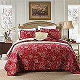 ADGAI Gesteppte Tagesdecke 230x250cm Blumenmuster Baumwollmischung Bettdecke Tröster-Set, 3-teiliges rotes Bettwäscheset mit 2 Kissenbezügen,230 * 250cm