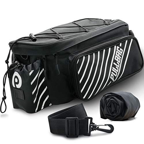 Pullbag Gepäckträgertasche - 35x17x18cm - inkl. Regenschutz & Reflektionsstreifen - großräumig, wasserdicht, platzsparend & einfach zu montieren - die Flexible Fahrradtasche für den Gepäckträger