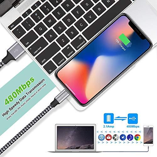 YUNSONG - Cargador para iPhone (3 unidades, 1,8 m, cable de carga USB trenzado de nailon, compatible con iPhone Xs MAX XR X 8 7 6S 6 Plus SE 5S 5C 5, iPad, iPod)