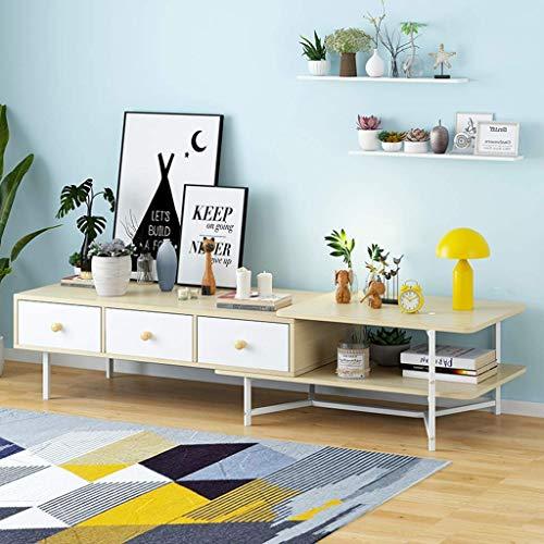 KDMB Meuble TV Extensible Salon Console TV Supports de Rangement Supports de télévision Centre de Divertissement Table Basse/Table de canapé/Meuble de Jeu avec tiroirs et étagère de Rangement Ouverte