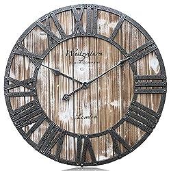 Westzytturm Wood Wall Clock Rustic,Vintage Frame Metal Roman Numeral Large Farmhouse Style Silent Big Digital Mantel Clocks,for Living Room Decor Bedrooms Home Kitchen Office(Pink 24 inch)