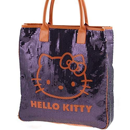Grand sac shopping Sequins pourpre Hello Kitty Camomilla