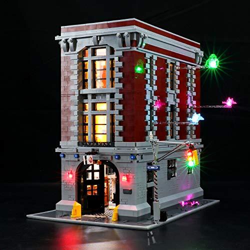 BRIKSMAX Led Beleuchtungsset für Lego Ghostbusters Feuerwehr-Hauptquartier,Kompatibel Mit Lego 75827 Bausteinen Modell - Ohne Lego Set (Fernbedienungsversion)