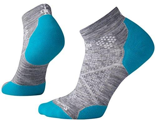 Smartwool Damen PHD Run Light Elite Socken, Grau (Light Gray-Capri Blue), M