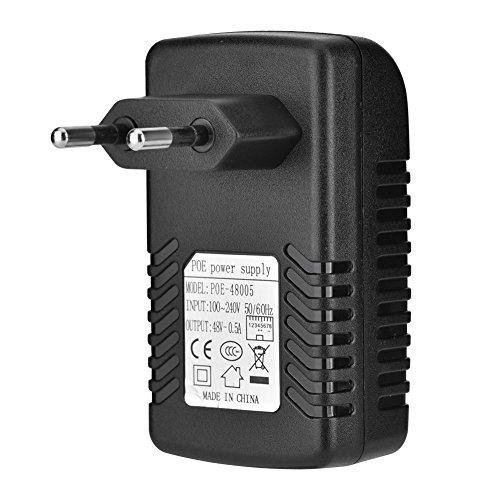 POE Injecteur Adaptateur Alimentation POE Ethernet RJ45 DC 48V 0.5A Compatible avec téléphone IP/Point d'accès sans Fil/Les périphériques Clients etc.(EU Plug)
