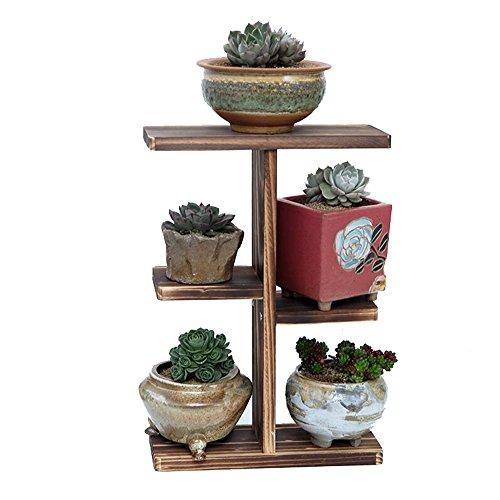 Stand de fleur en bois, Floral plantes succulentes Desktop Display Multi-étages étagère intérieur/extérieur balcon de jardin salon balcon étagère décorative, 25 * 10 * 36cm (Color : Brown)