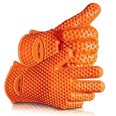 Topulors 2018 BBQ Grilling Gloves Oven Mitts Gloves for Cooking Baking Barbecue Potholder(Orange)